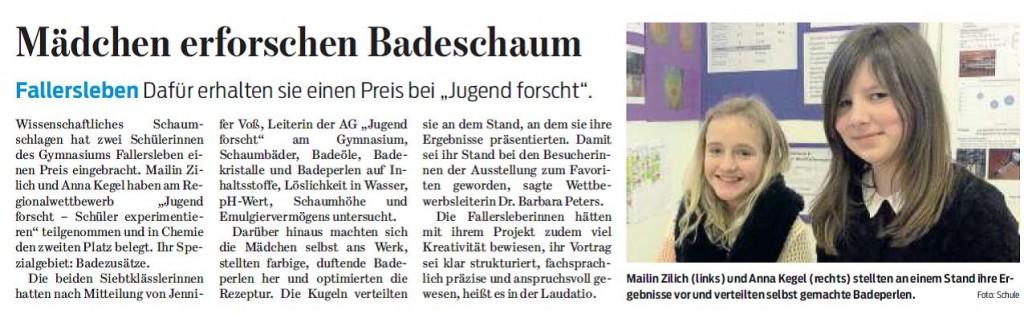 Wolfsburger Nachrichten zu dem Erfolg bei Jugend forscht