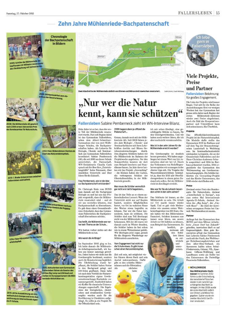 WN, 17.10.2015 - Zehn Jahre Mühlenriede-Bachpatenschaft