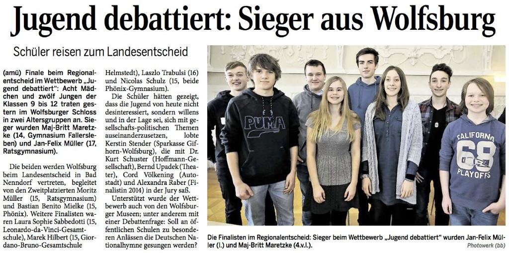 Wolfsburger Allgemeine Zeitung vom 04.02.2016